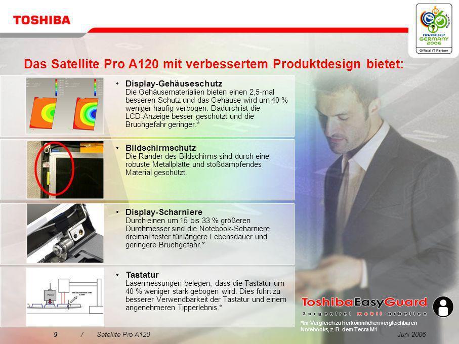 Das Satellite Pro A120 mit verbessertem Produktdesign bietet: