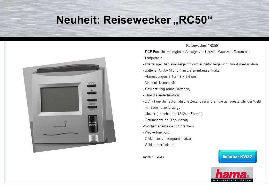 """Neuheit: Reisewecker """"RC50"""