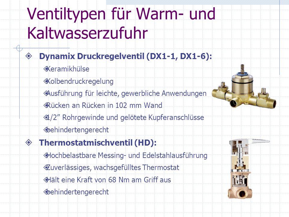 Ventiltypen für Warm- und Kaltwasserzufuhr