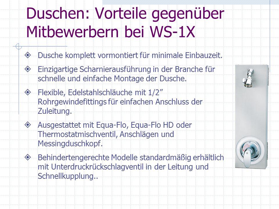 Duschen: Vorteile gegenüber Mitbewerbern bei WS-1X
