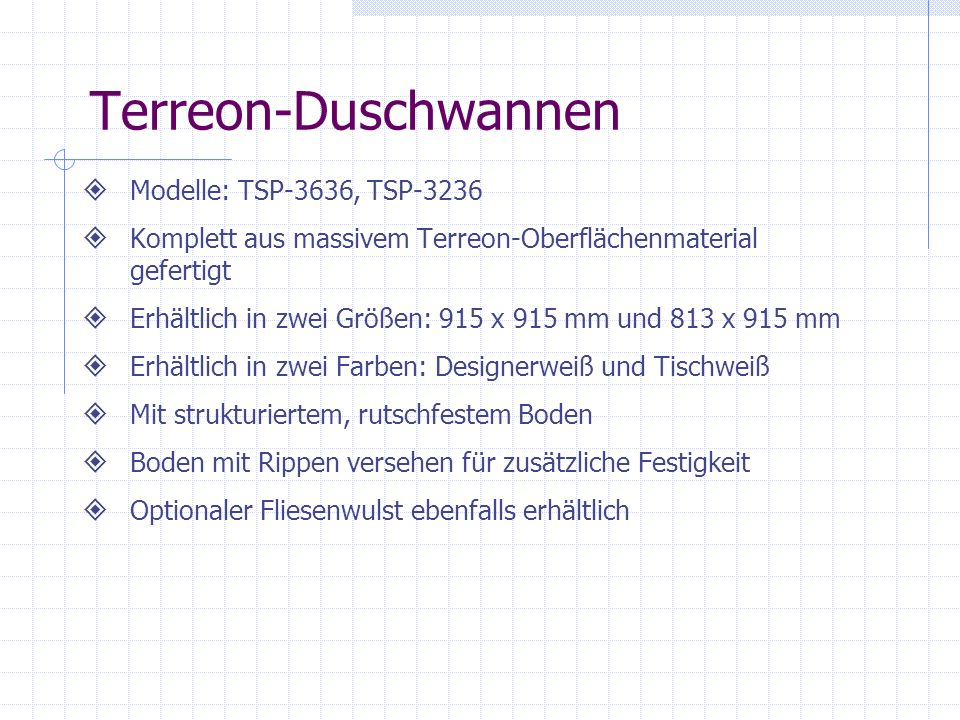 Terreon-Duschwannen Modelle: TSP-3636, TSP-3236
