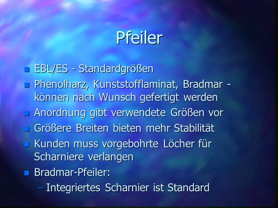 Pfeiler EBL/ES - Standardgrößen