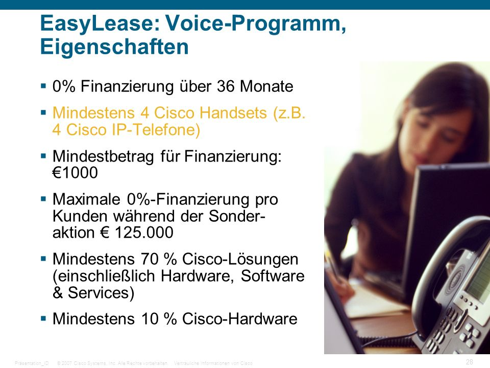 EasyLease: Voice-Programm, Eigenschaften