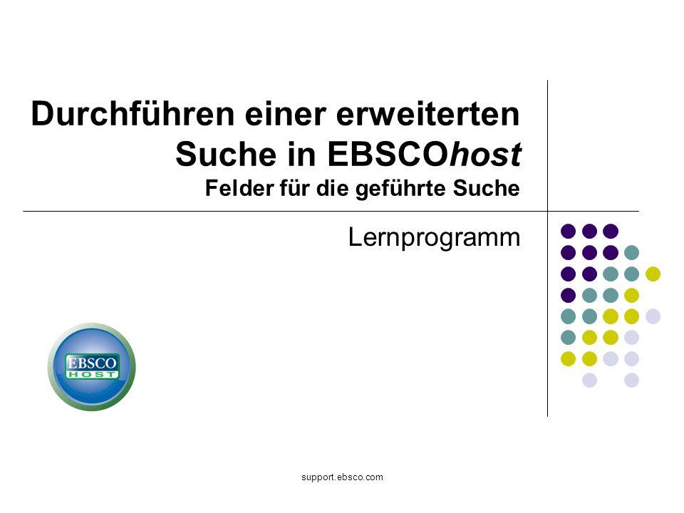 Durchführen einer erweiterten Suche in EBSCOhost Felder für die geführte Suche