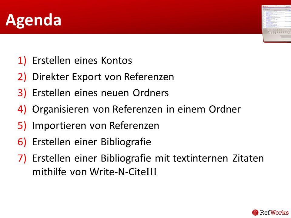 Agenda Erstellen eines Kontos Direkter Export von Referenzen
