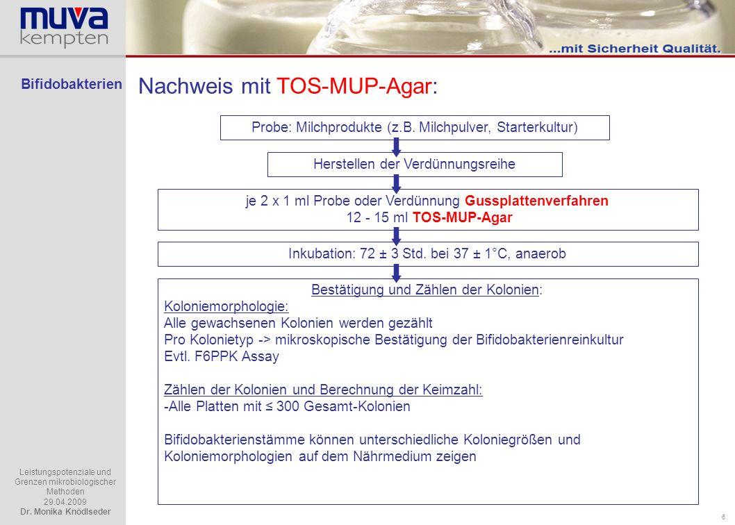 Nachweis mit TOS-MUP-Agar: