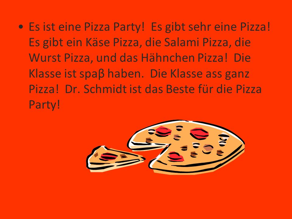 Es ist eine Pizza Party. Es gibt sehr eine Pizza