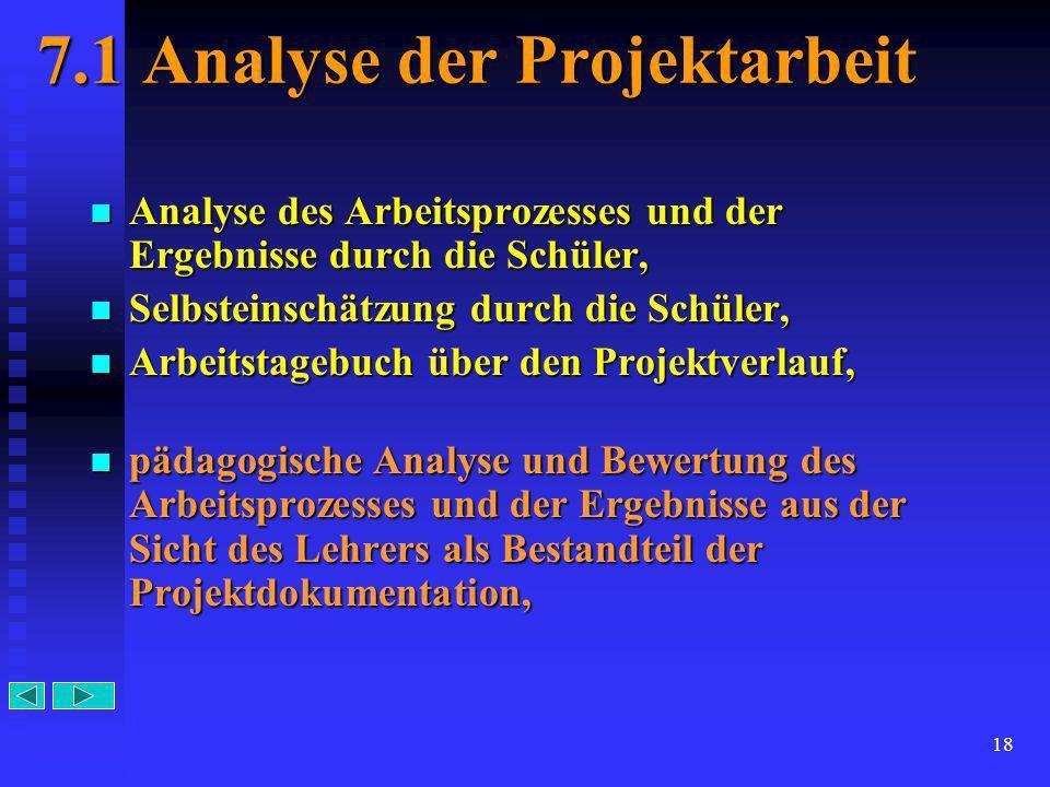 7.1 Analyse der Projektarbeit