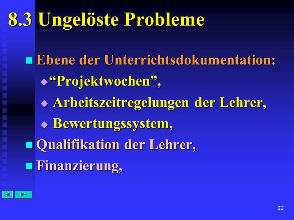 8.3 Ungelöste Probleme Ebene der Unterrichtsdokumentation: