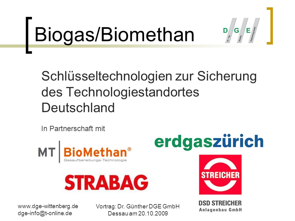 Vortrag: Dr. Günther DGE GmbH Dessau am 20.10.2009
