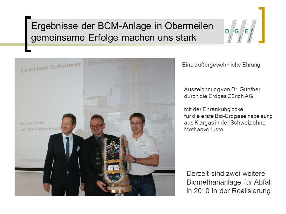 Ergebnisse der BCM-Anlage in Obermeilen gemeinsame Erfolge machen uns stark