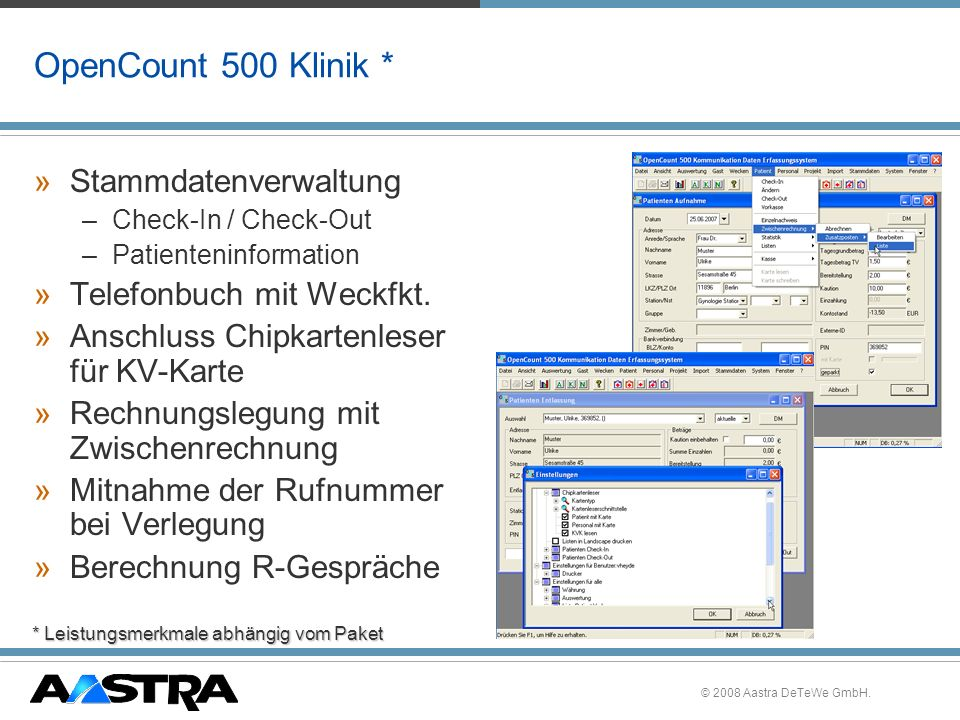OpenCount 500 Klinik * Stammdatenverwaltung Telefonbuch mit Weckfkt.