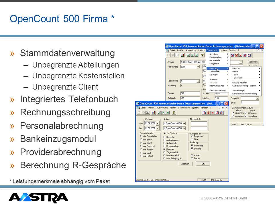 OpenCount 500 Firma * Stammdatenverwaltung Integriertes Telefonbuch