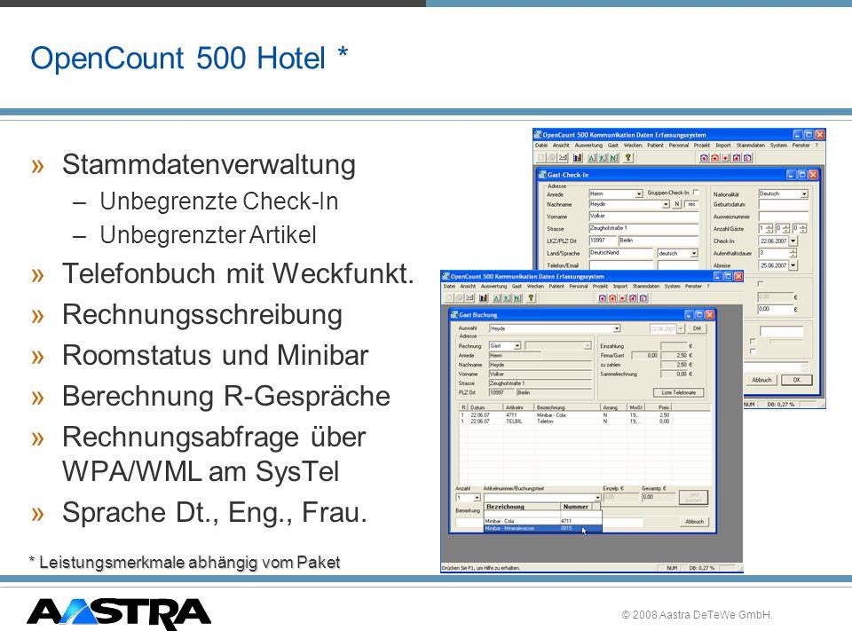 OpenCount 500 Hotel * Stammdatenverwaltung Telefonbuch mit Weckfunkt.