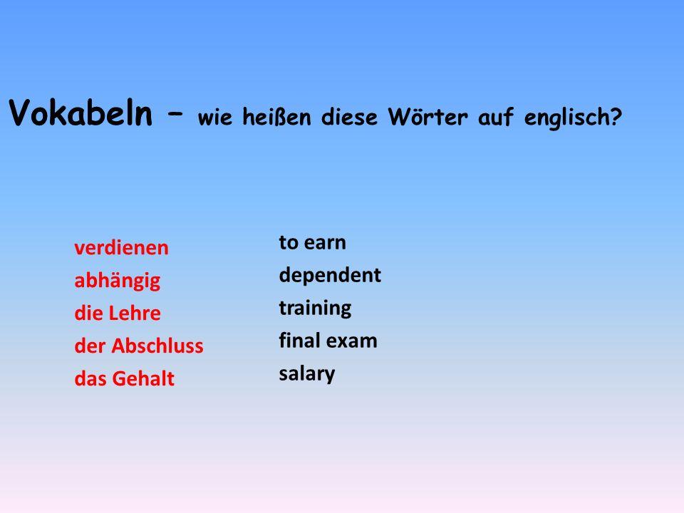 Vokabeln – wie heißen diese Wörter auf englisch
