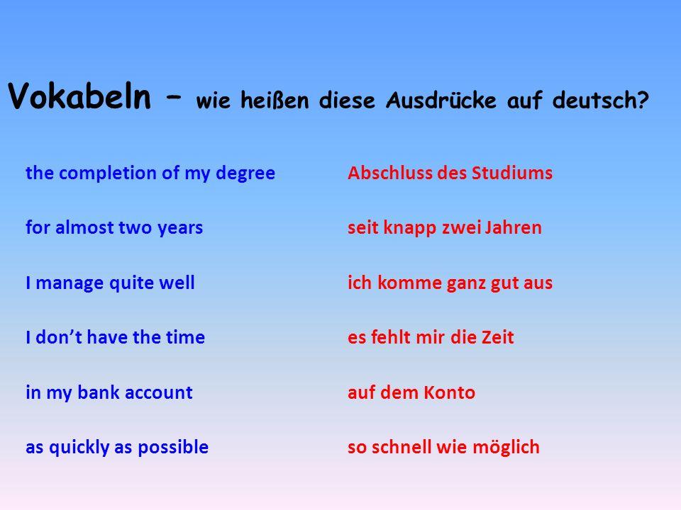 Vokabeln – wie heißen diese Ausdrücke auf deutsch