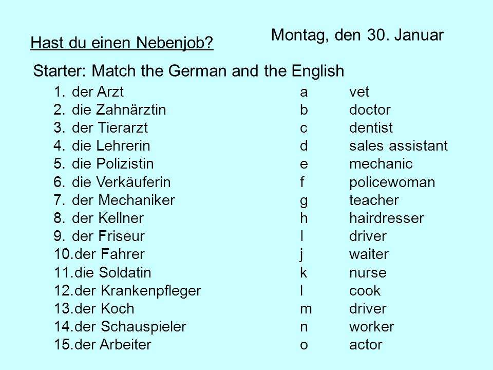 Starter: Match the German and the English