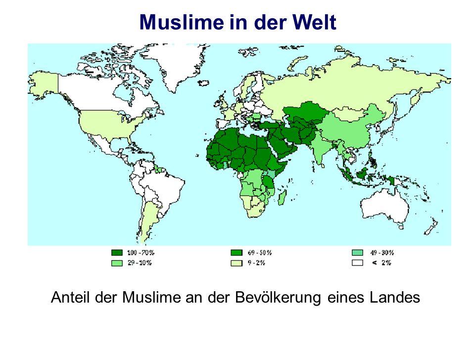 Anteil der Muslime an der Bevölkerung eines Landes