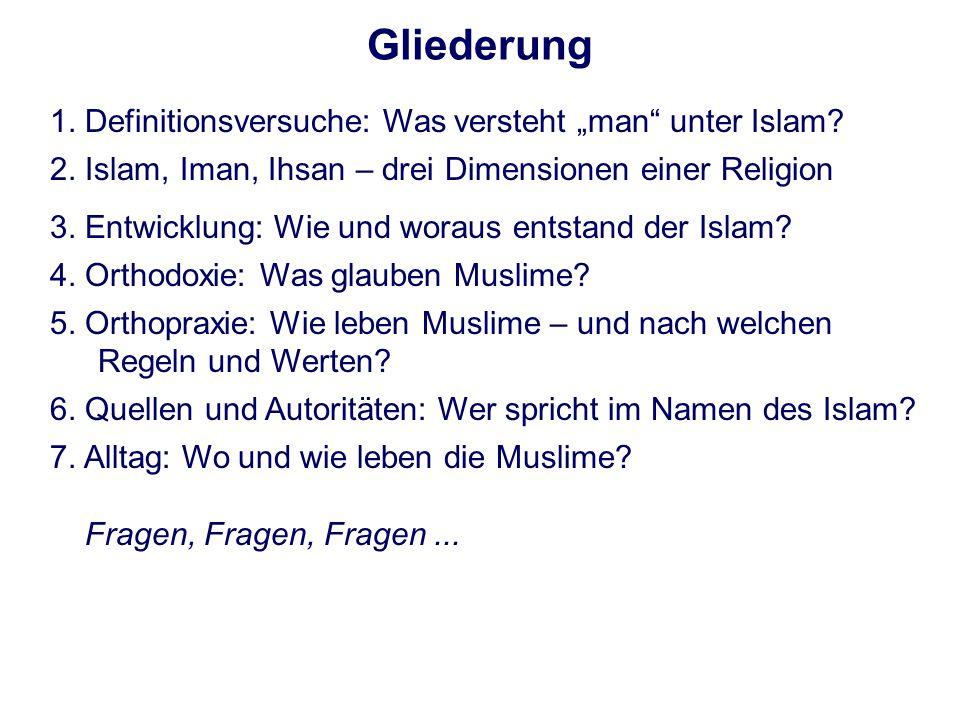 """Gliederung 1. Definitionsversuche: Was versteht """"man unter Islam"""