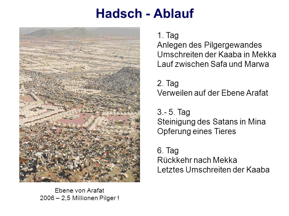 Hadsch - Ablauf1. Tag. Anlegen des Pilgergewandes Umschreiten der Kaaba in Mekka. Lauf zwischen Safa und Marwa.