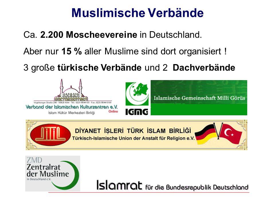 Muslimische Verbände Ca. 2.200 Moscheevereine in Deutschland.