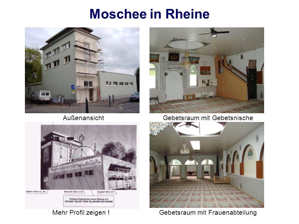 Moschee in Rheine Außenansicht Gebetsraum mit Gebetsnische