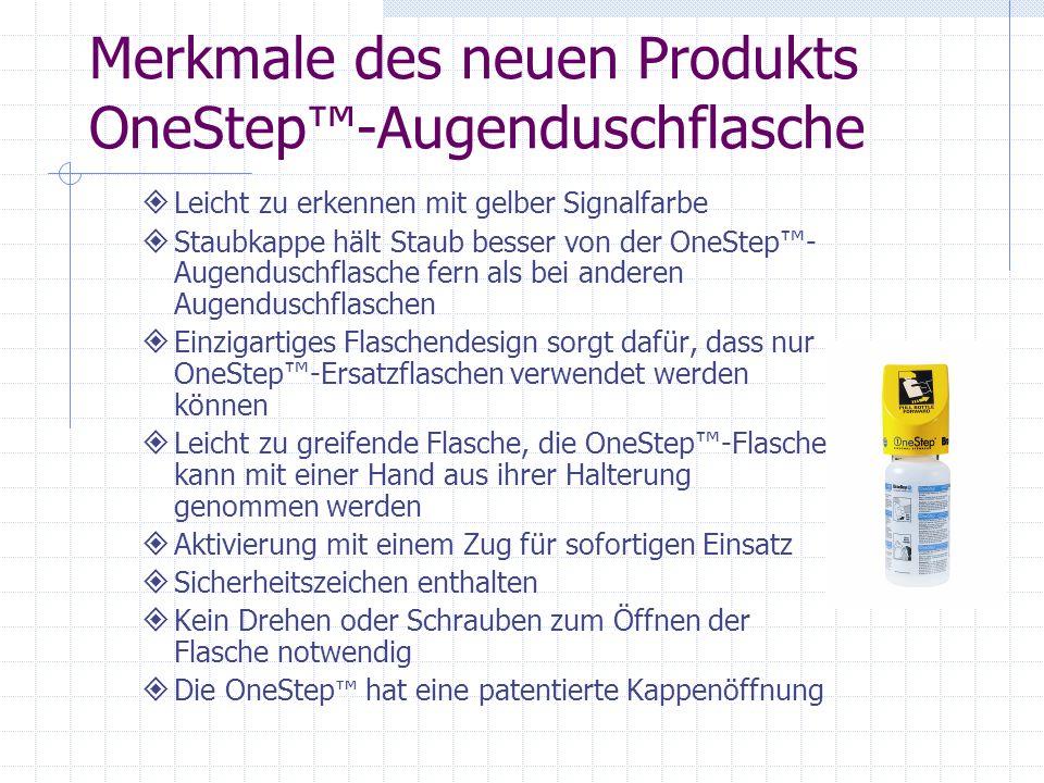 Merkmale des neuen Produkts OneStep™-Augenduschflasche