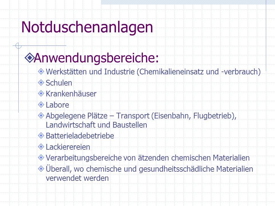 Notduschenanlagen Anwendungsbereiche: