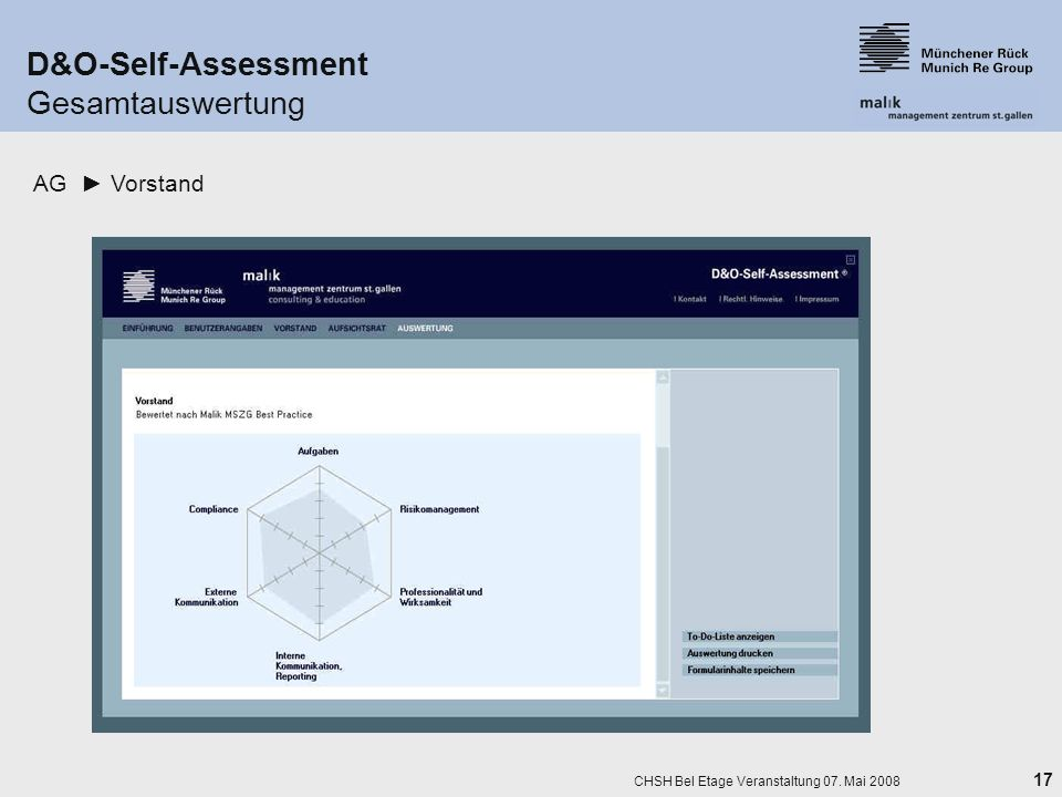 D&O-Self-Assessment Gesamtauswertung