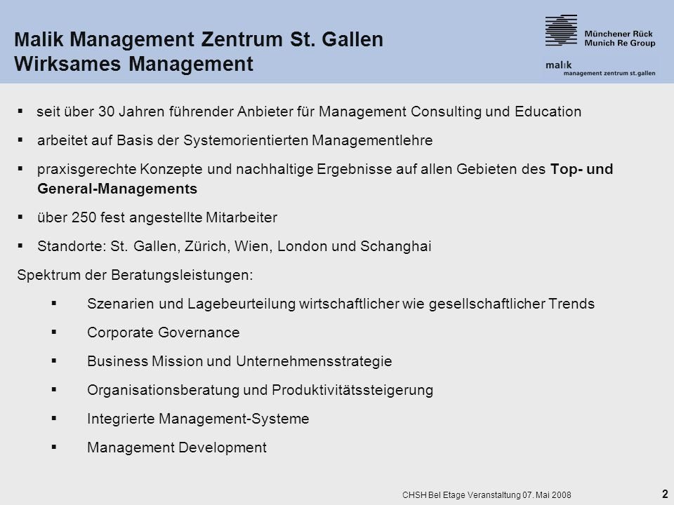 Malik Management Zentrum St. Gallen Wirksames Management
