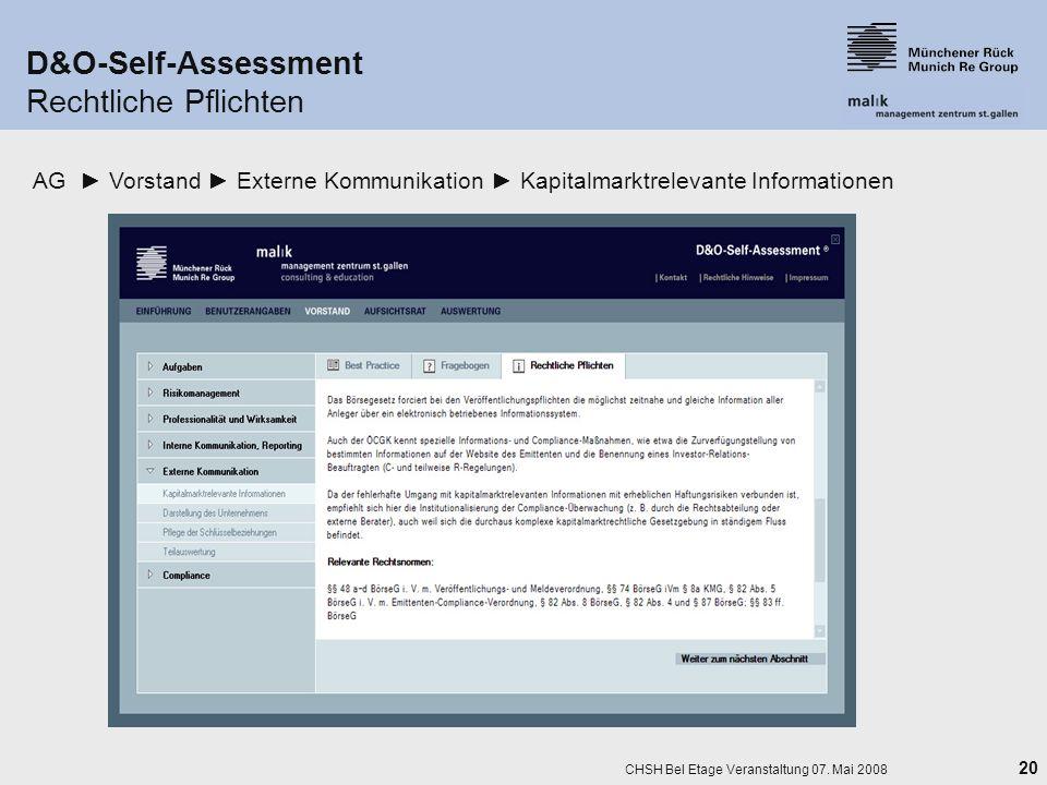D&O-Self-Assessment Rechtliche Pflichten