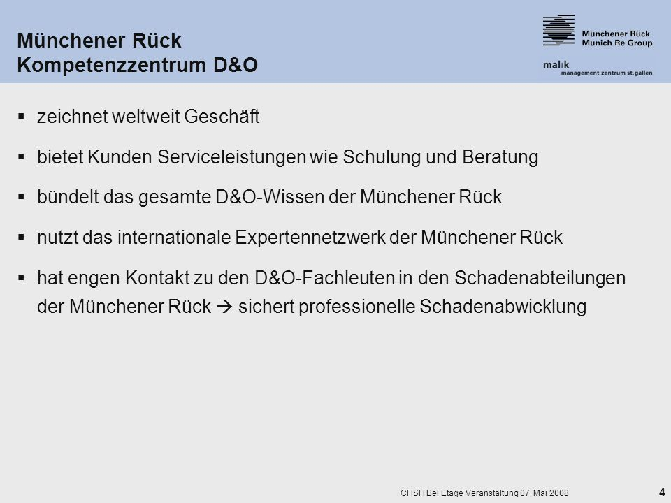 Münchener Rück Kompetenzzentrum D&O