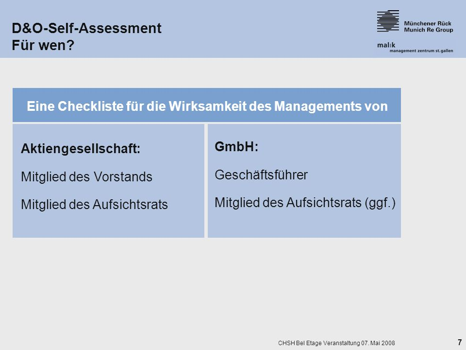 D&O-Self-Assessment Für wen