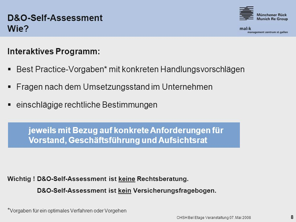 D&O-Self-Assessment Wie