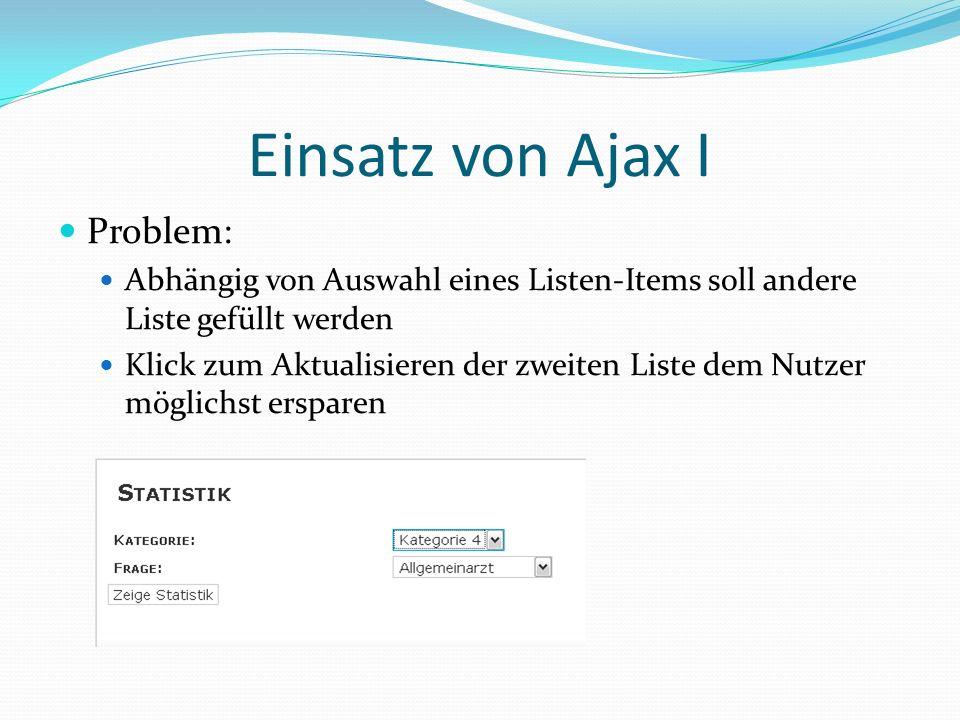 Einsatz von Ajax I Problem: