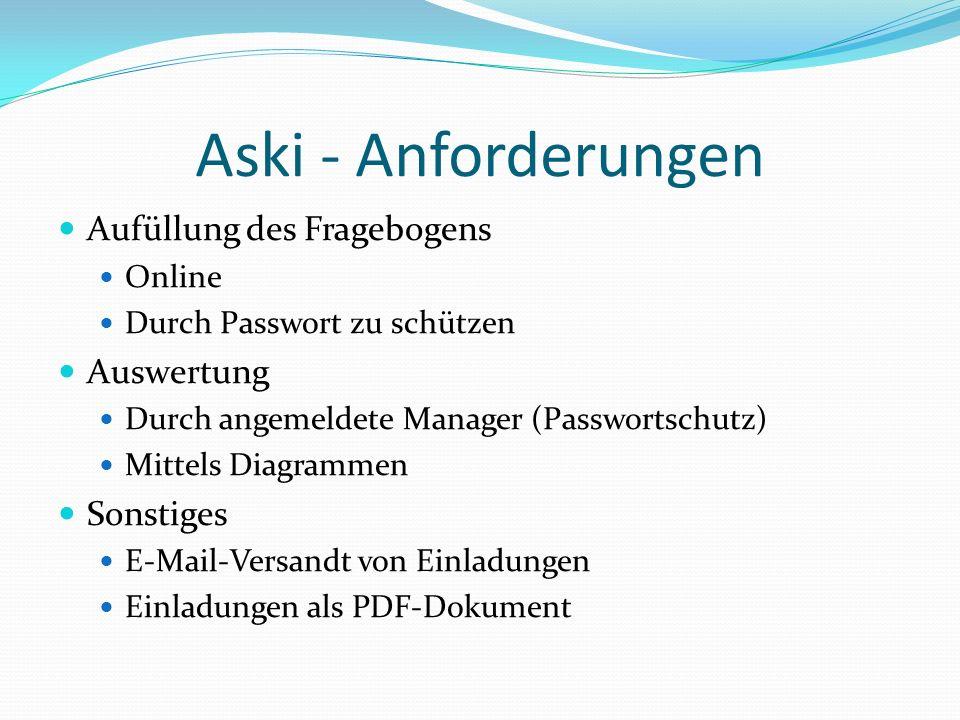 Aski - Anforderungen Aufüllung des Fragebogens Auswertung Sonstiges