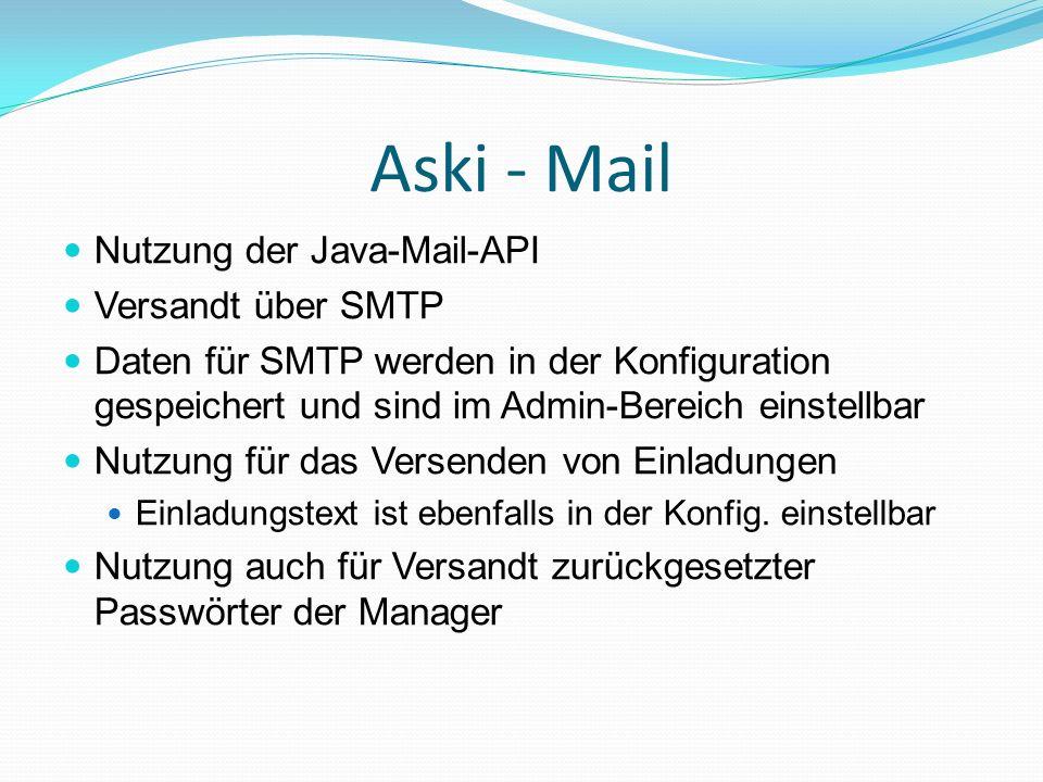 Aski - Mail Nutzung der Java-Mail-API Versandt über SMTP