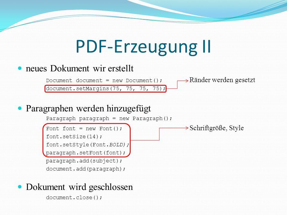 PDF-Erzeugung II neues Dokument wir erstellt