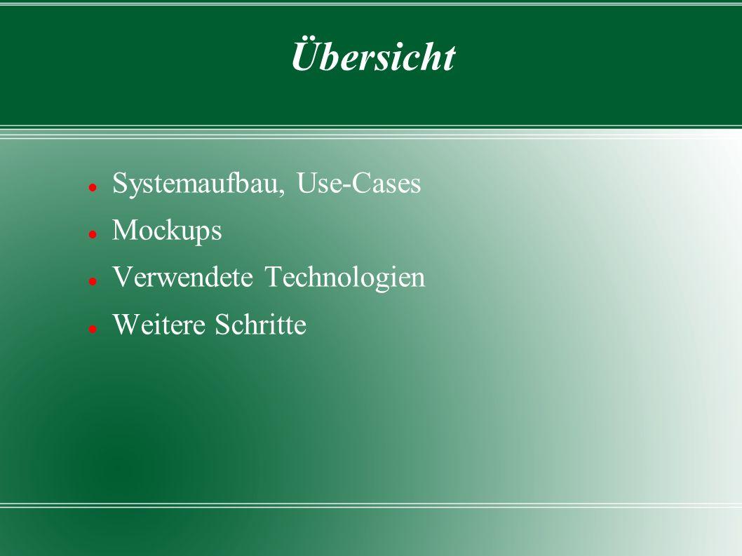 Übersicht Systemaufbau, Use-Cases Mockups Verwendete Technologien