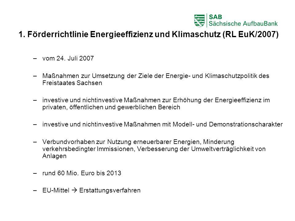 1. Förderrichtlinie Energieeffizienz und Klimaschutz (RL EuK/2007)