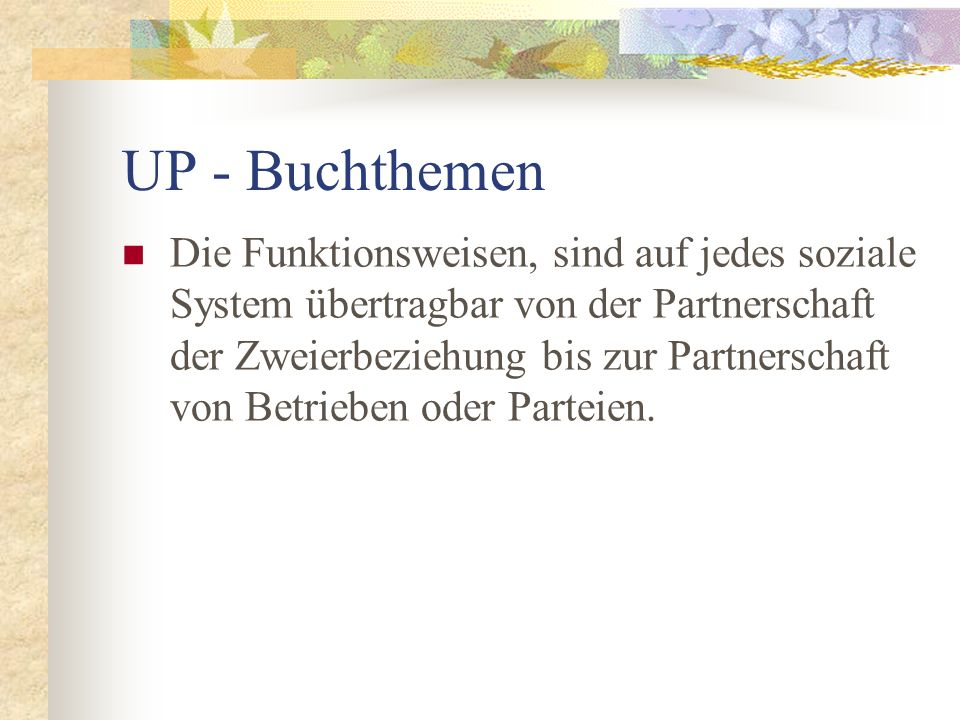 UP - Buchthemen