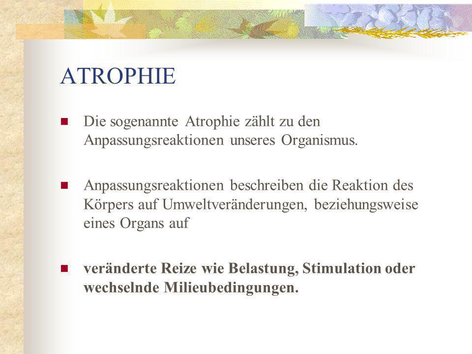 ATROPHIE Die sogenannte Atrophie zählt zu den Anpassungsreaktionen unseres Organismus.