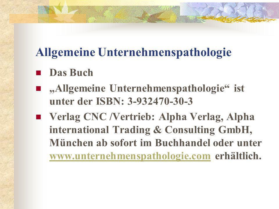 Allgemeine Unternehmenspathologie