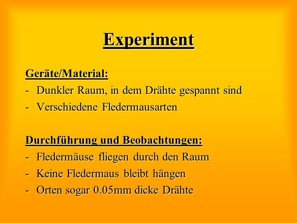 Experiment Geräte/Material: Dunkler Raum, in dem Drähte gespannt sind