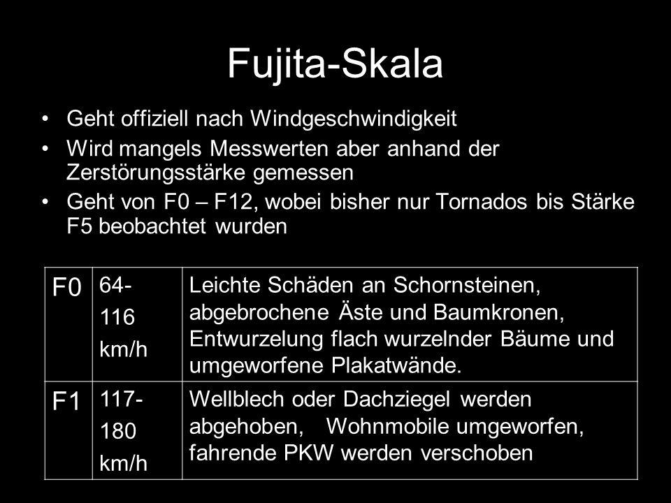 Fujita-Skala F0 F1 Geht offiziell nach Windgeschwindigkeit