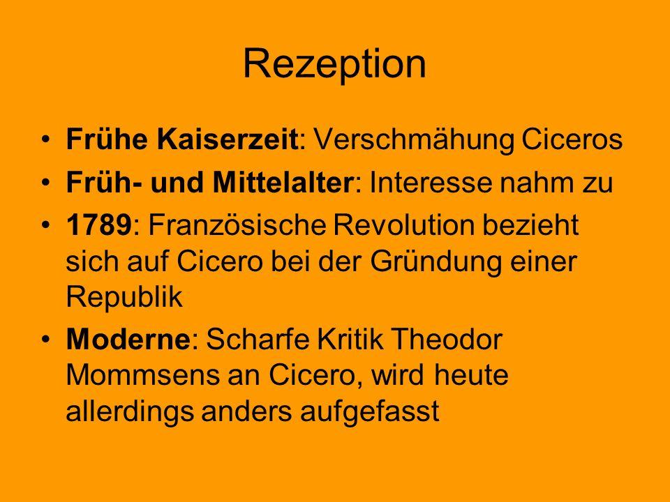 Rezeption Frühe Kaiserzeit: Verschmähung Ciceros