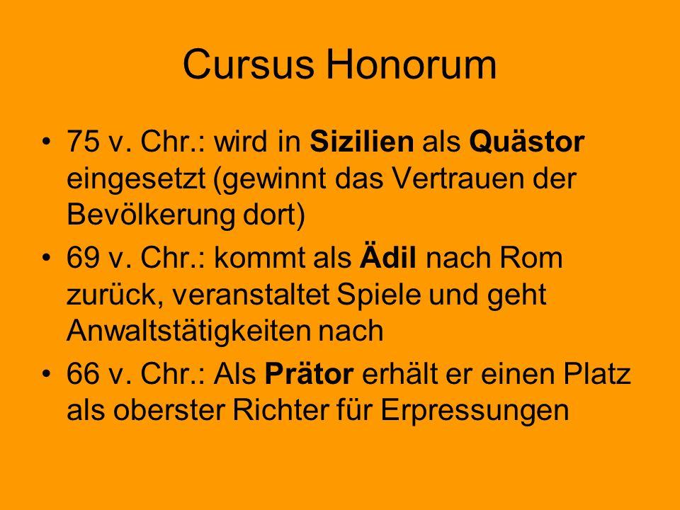 Cursus Honorum 75 v. Chr.: wird in Sizilien als Quästor eingesetzt (gewinnt das Vertrauen der Bevölkerung dort)