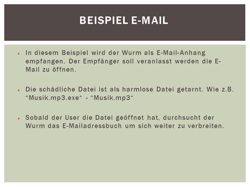 Beispiel E-Mail In diesem Beispiel wird der Wurm als E-Mail-Anhang empfangen. Der Empfänger soll veranlasst werden die E-Mail zu öffnen.