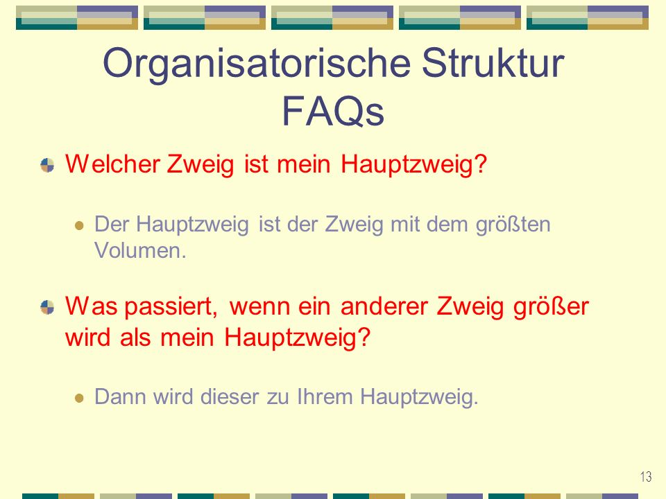 Organisatorische Struktur FAQs