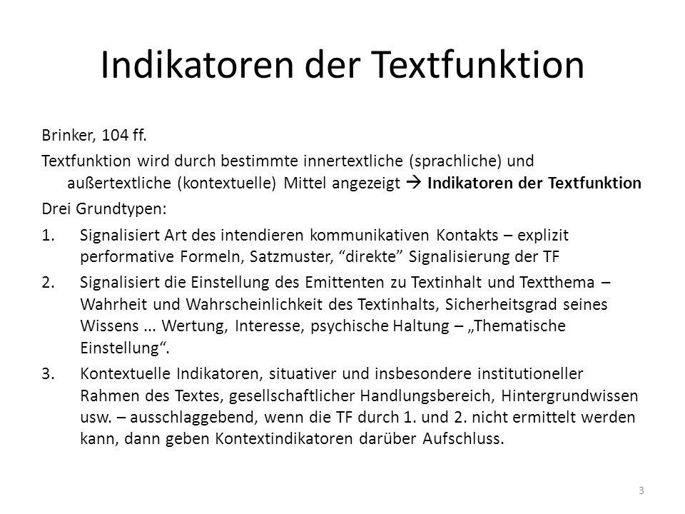 Indikatoren der Textfunktion